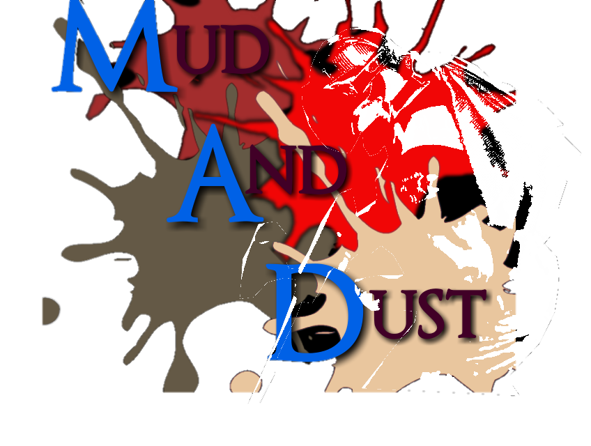 Mud And Dust Paintball logo over a background of splats