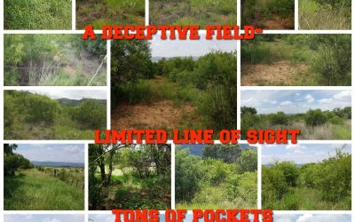 "Landscape collage of one of our paintball fields called "" Bush 3"" captioned onto of collage is keypints and highlights about The field."